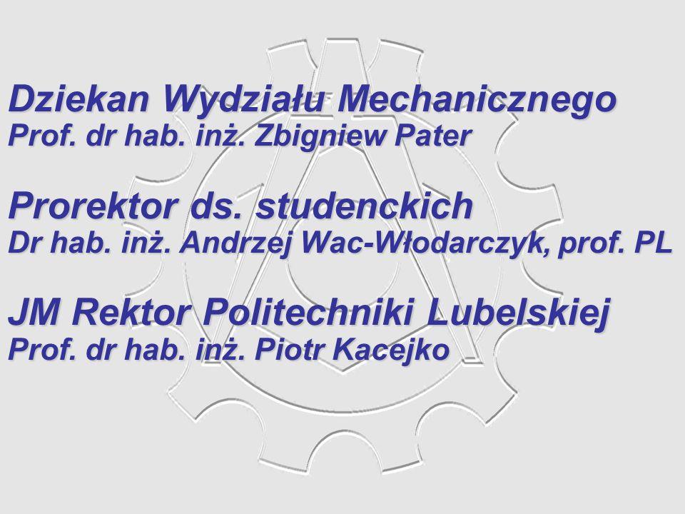 Dziekan Wydziału Mechanicznego Prorektor ds. studenckich