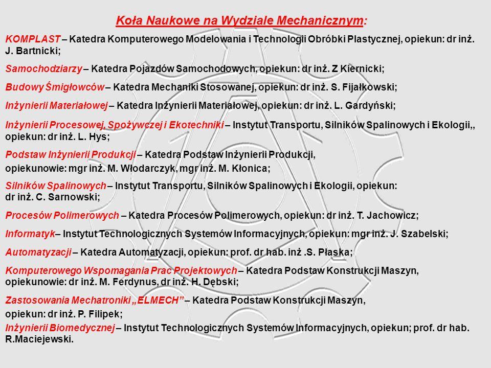 Koła Naukowe na Wydziale Mechanicznym: