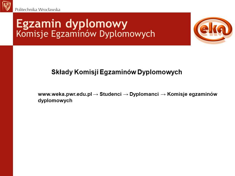 Egzamin dyplomowy Komisje Egzaminów Dyplomowych