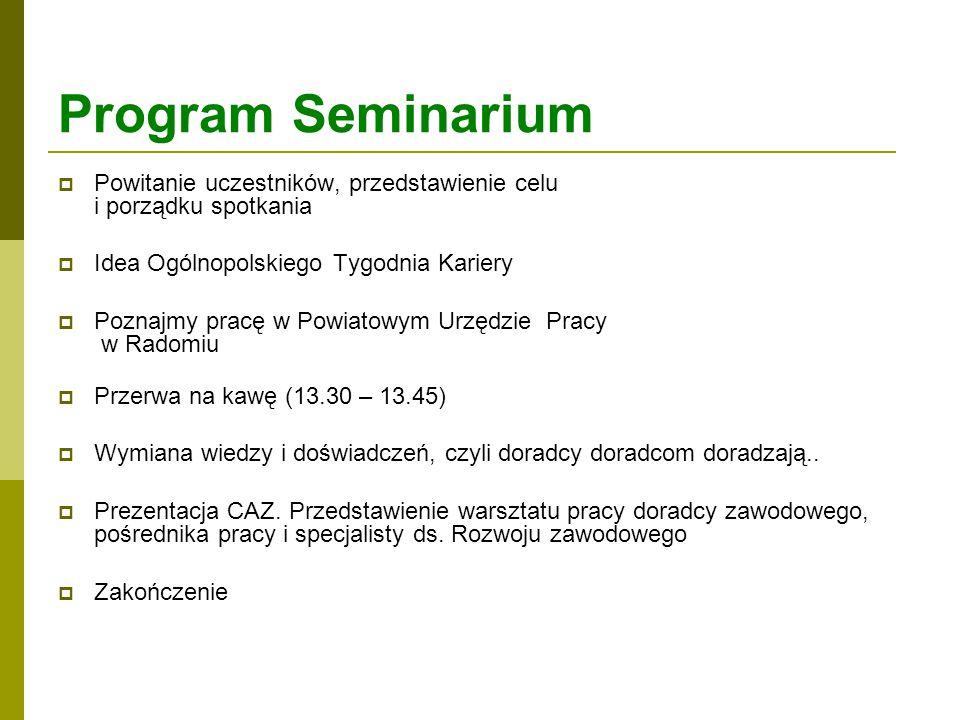 Program Seminarium Powitanie uczestników, przedstawienie celu i porządku spotkania. Idea Ogólnopolskiego Tygodnia Kariery.