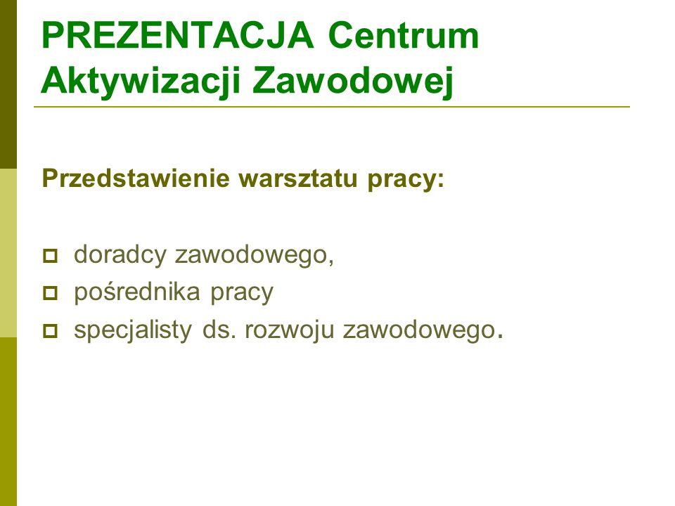 PREZENTACJA Centrum Aktywizacji Zawodowej