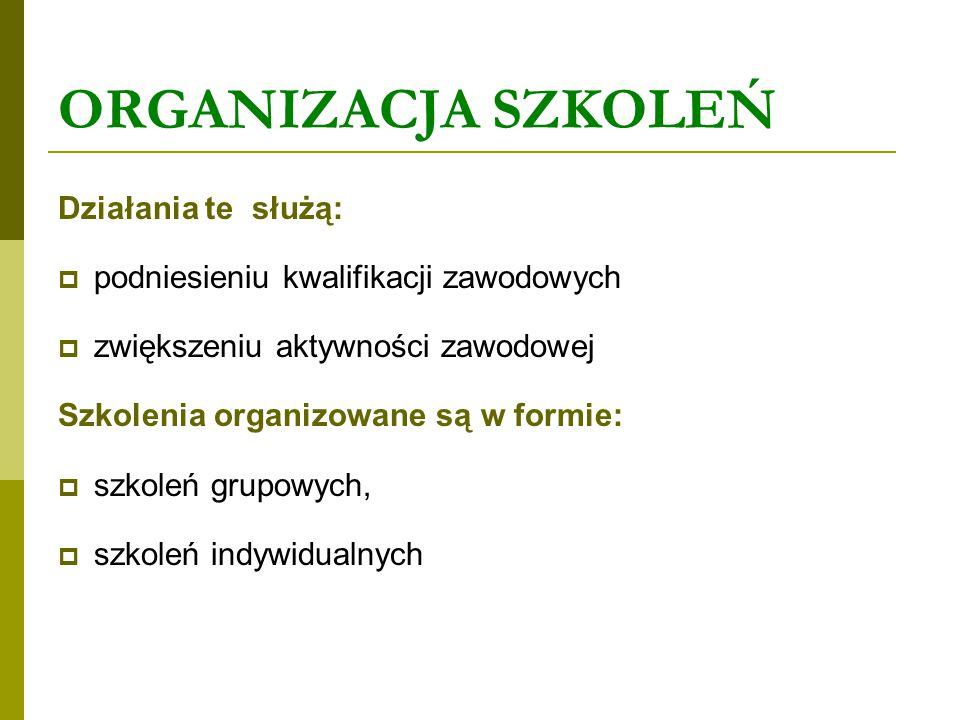 ORGANIZACJA SZKOLEŃ Działania te służą: