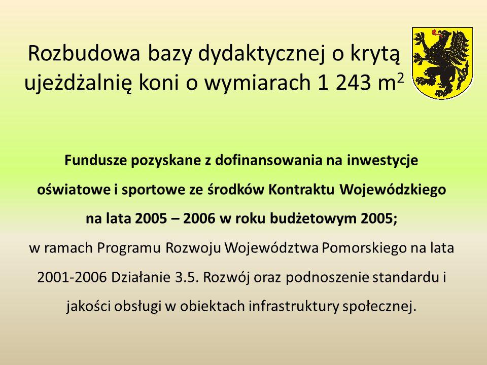 Rozbudowa bazy dydaktycznej o krytą ujeżdżalnię koni o wymiarach 1 243 m2