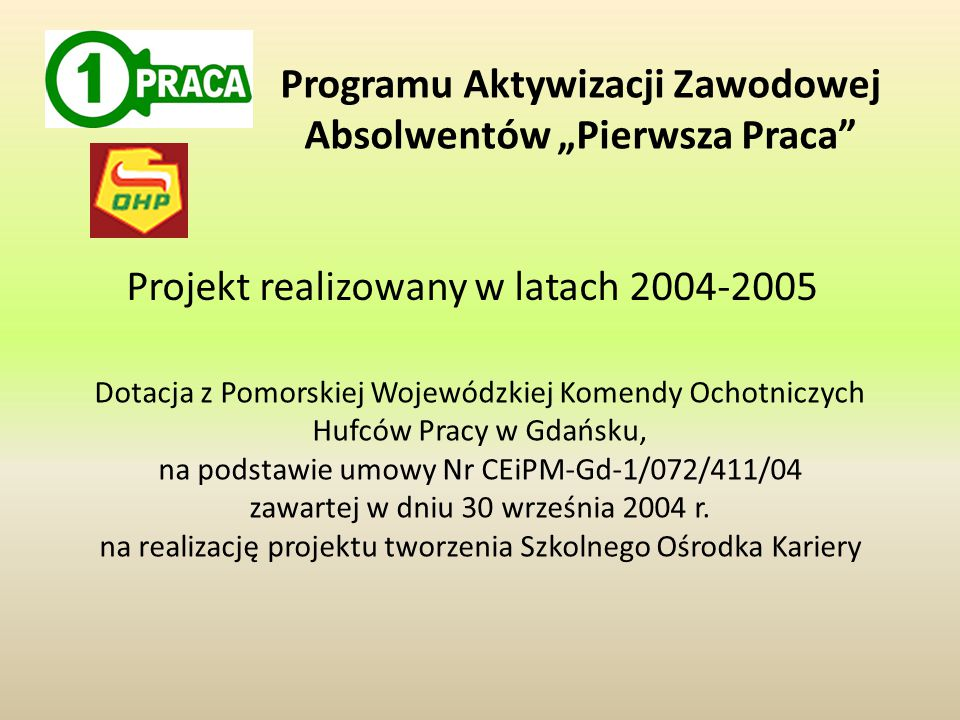 """Programu Aktywizacji Zawodowej Absolwentów """"Pierwsza Praca"""