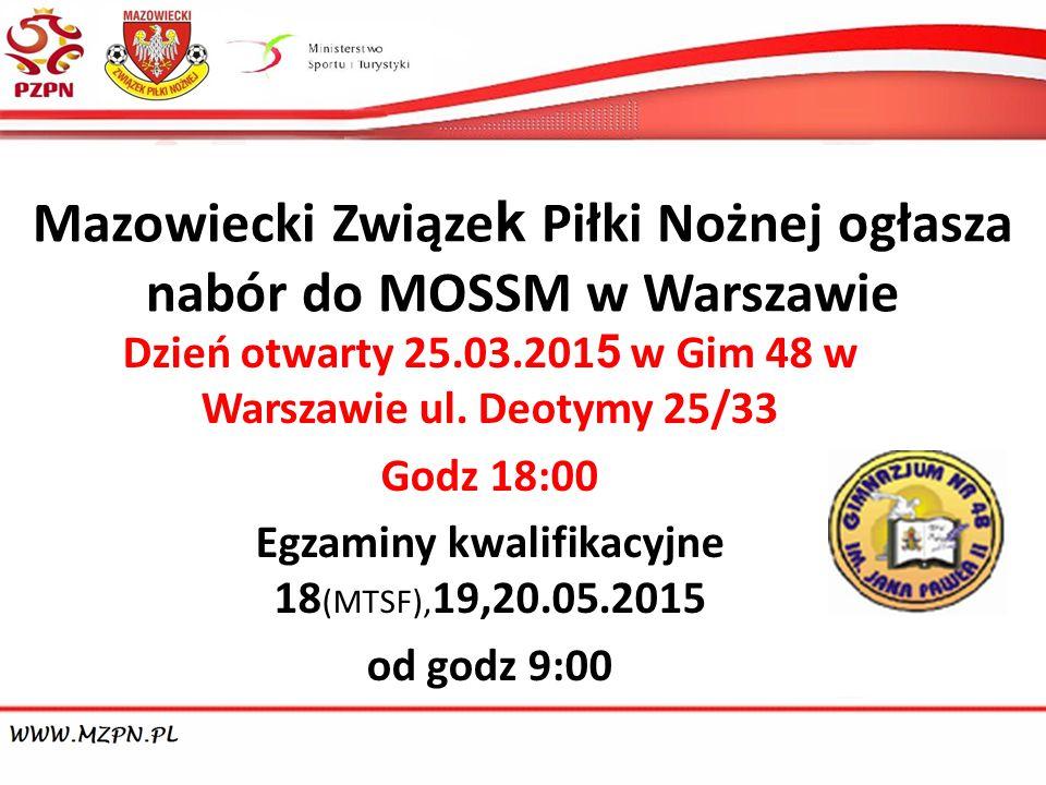 Mazowiecki Związek Piłki Nożnej ogłasza nabór do MOSSM w Warszawie