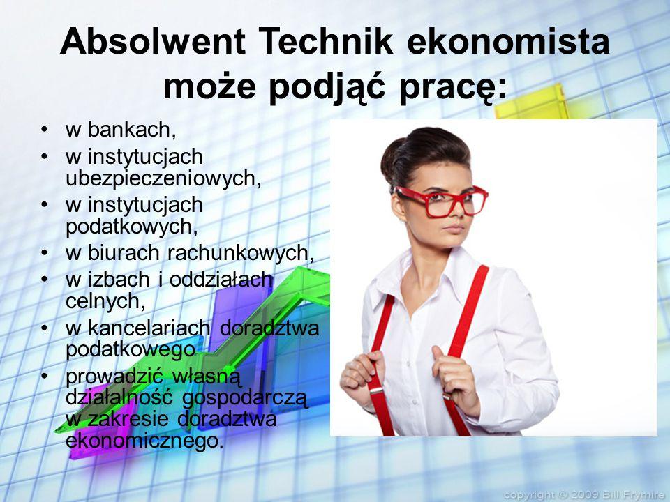 Absolwent Technik ekonomista może podjąć pracę: