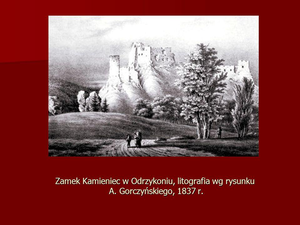 Zamek Kamieniec w Odrzykoniu, litografia wg rysunku A