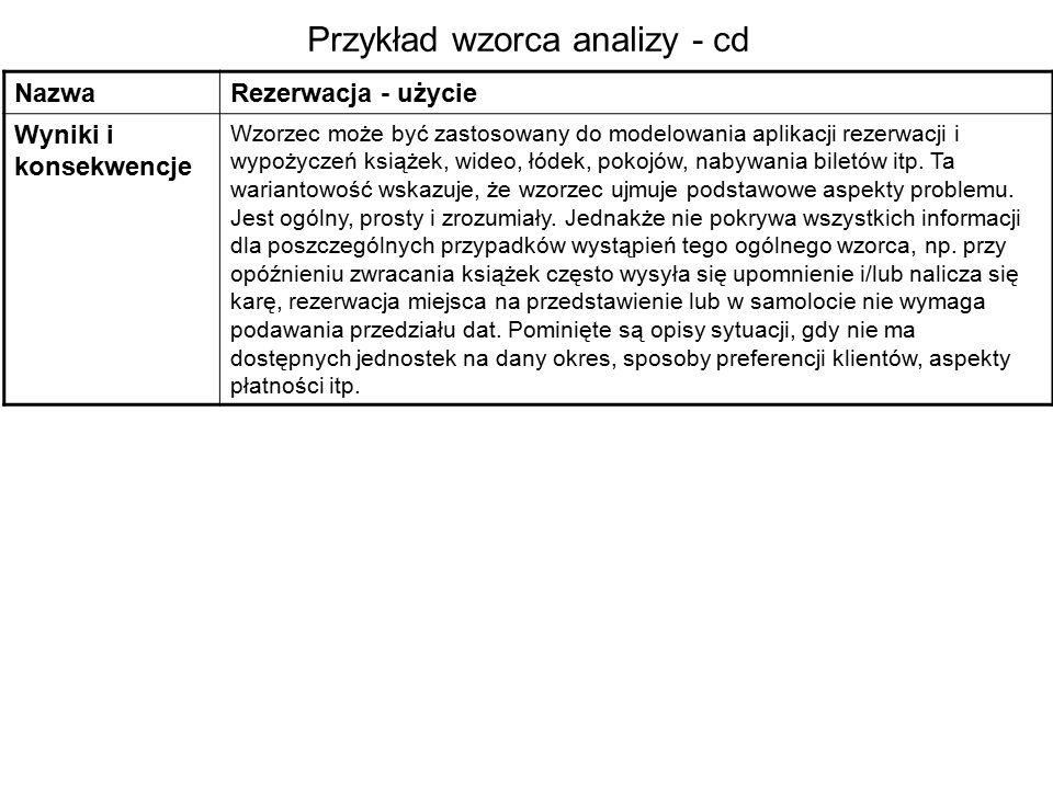 Przykład wzorca analizy - cd