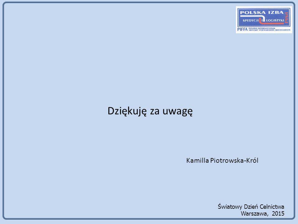 Dziękuję za uwagę Kamilla Piotrowska-Król Światowy Dzień Celnictwa