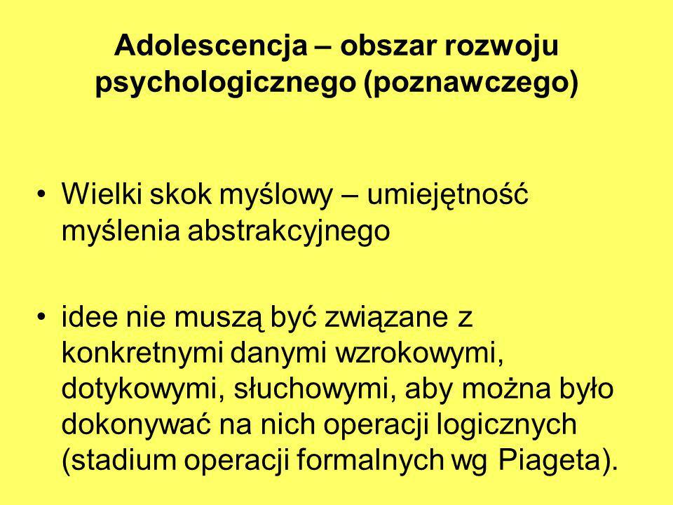 Adolescencja – obszar rozwoju psychologicznego (poznawczego)