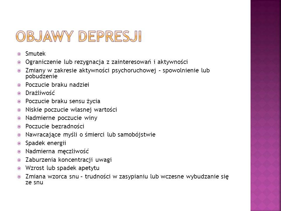 Objawy depresji Smutek