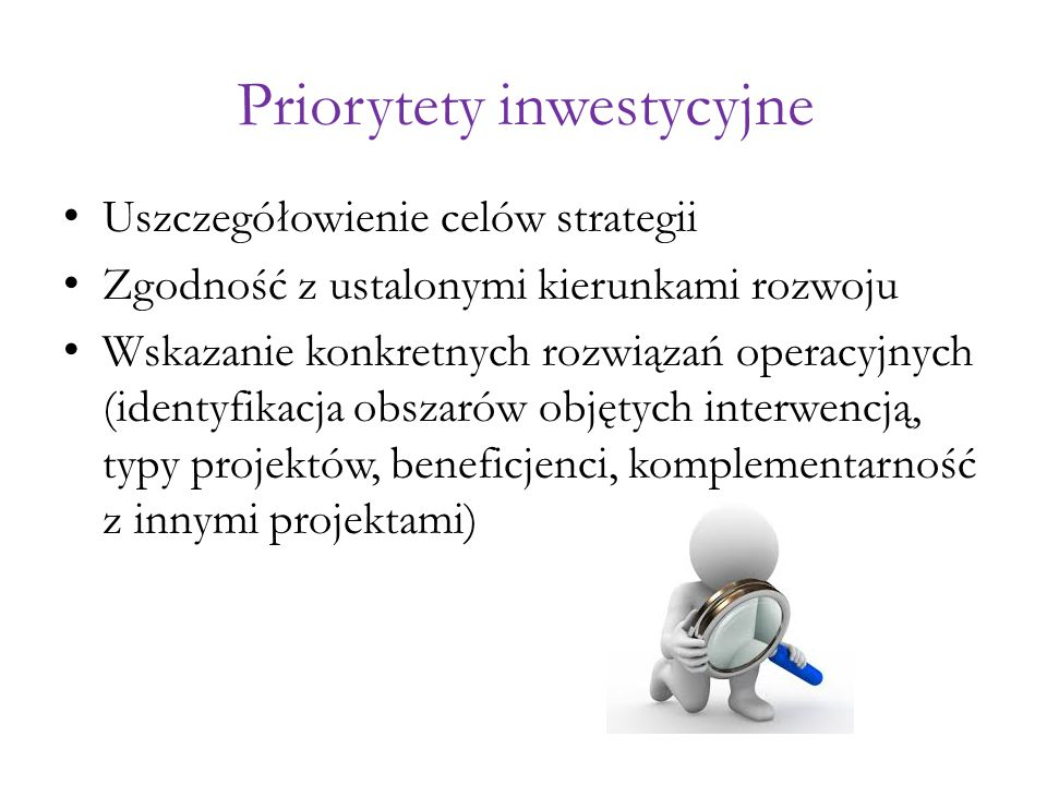 Priorytety inwestycyjne