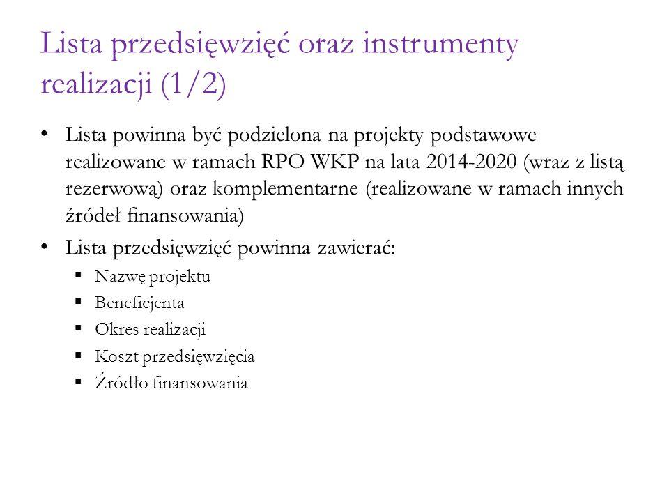 Lista przedsięwzięć oraz instrumenty realizacji (1/2)