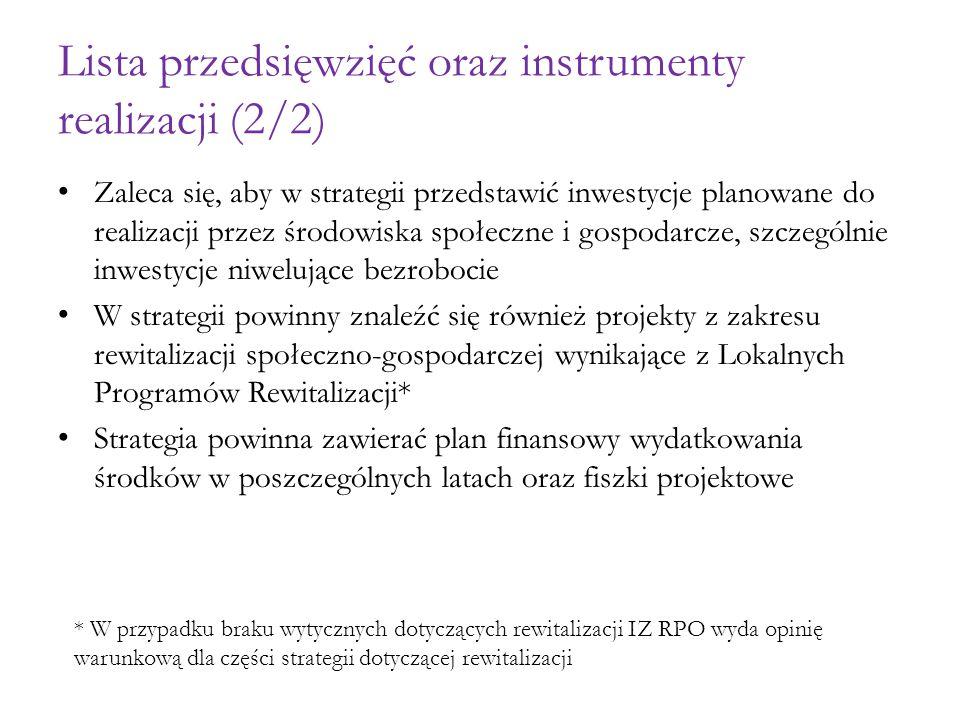 Lista przedsięwzięć oraz instrumenty realizacji (2/2)