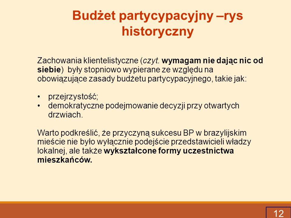 Budżet partycypacyjny –rys historyczny