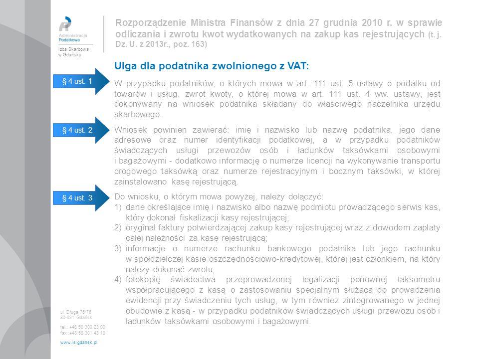 Ulga dla podatnika zwolnionego z VAT:
