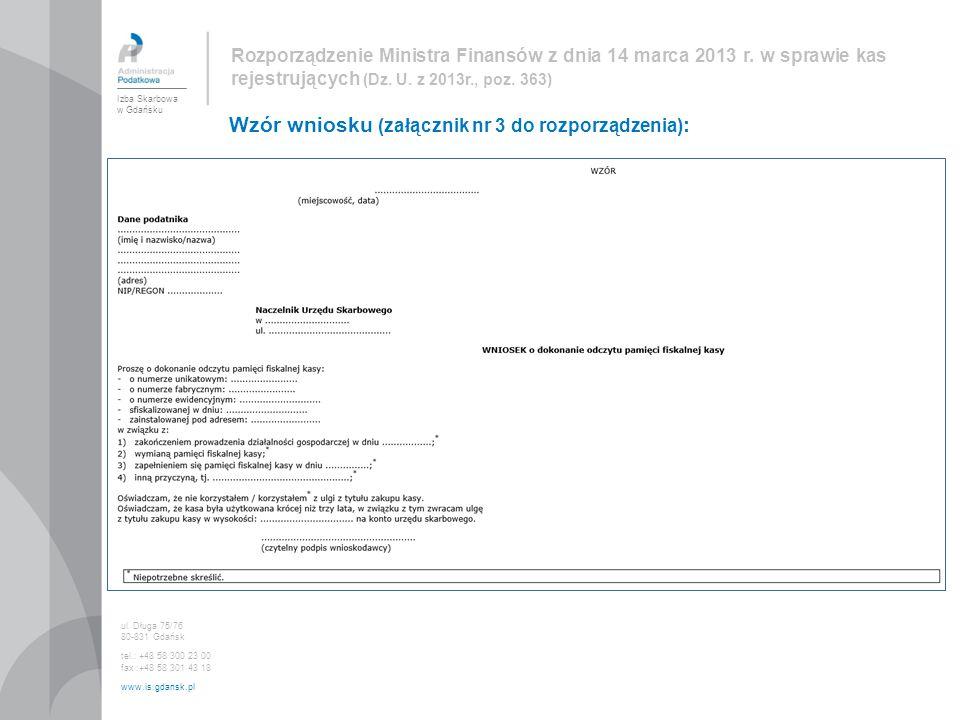 Wzór wniosku (załącznik nr 3 do rozporządzenia):