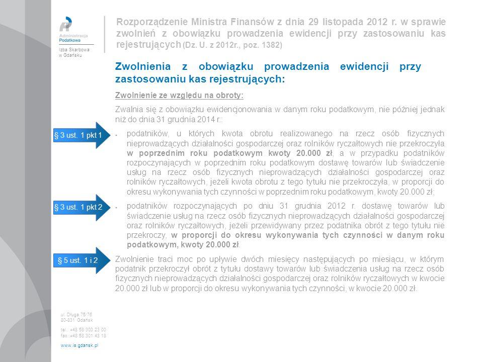 Rozporządzenie Ministra Finansów z dnia 29 listopada 2012 r