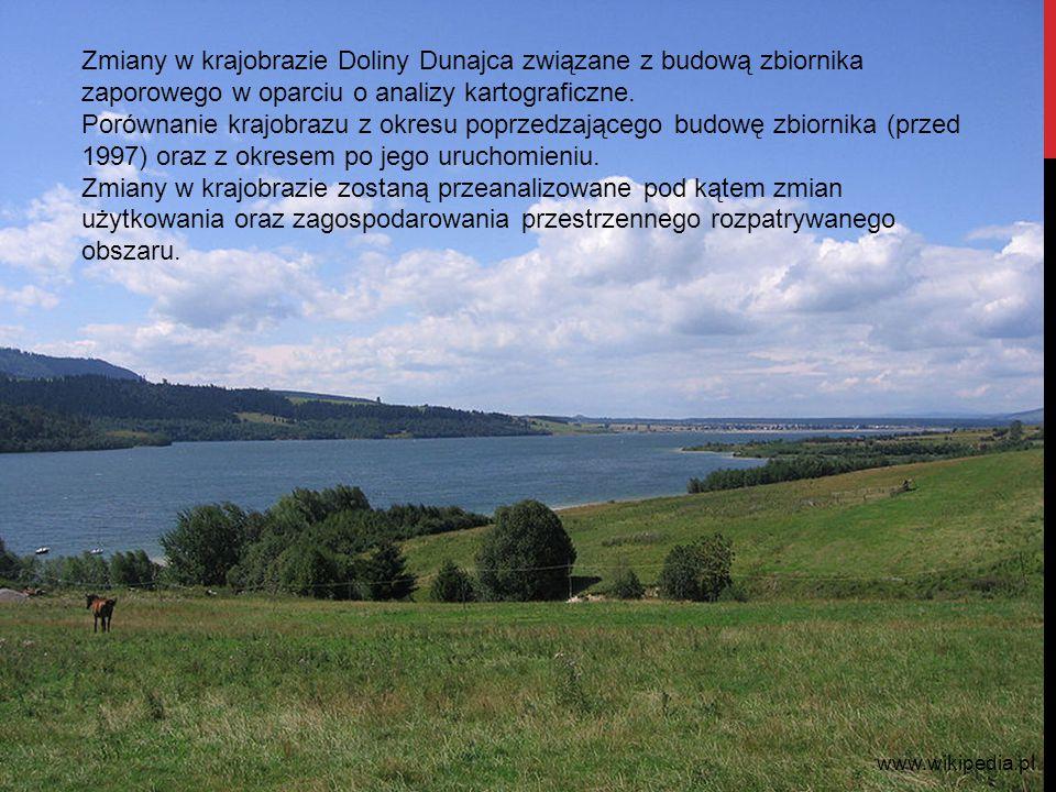 Zmiany w krajobrazie Doliny Dunajca związane z budową zbiornika zaporowego w oparciu o analizy kartograficzne.