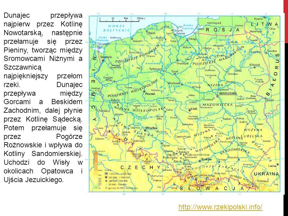 Dunajec przepływa najpierw przez Kotlinę Nowotarską, następnie przełamuje się przez Pieniny, tworząc między Sromowcami Niżnymi a Szczawnicą najpiękniejszy przełom rzeki. Dunajec przepływa między Gorcami a Beskidem Zachodnim, dalej płynie przez Kotlinę Sądecką. Potem przełamuje się przez Pogórze Rożnowskie i wpływa do Kotliny Sandomierskiej. Uchodzi do Wisły w okolicach Opatowca i Ujścia Jezuickiego.