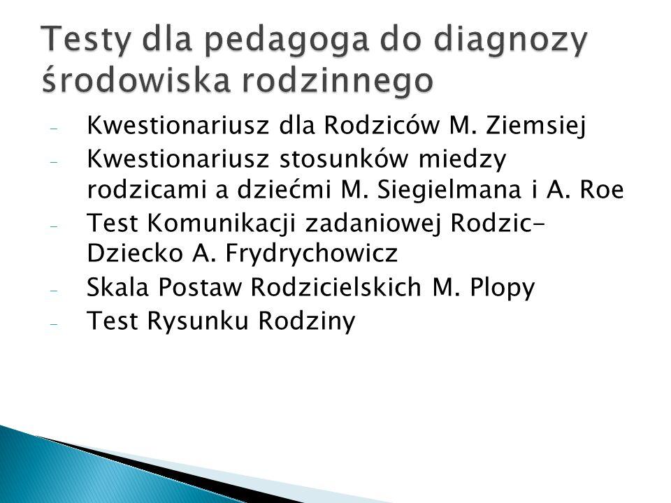 Testy dla pedagoga do diagnozy środowiska rodzinnego