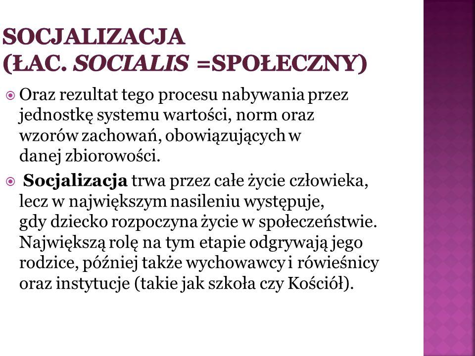SOCJALIZACJA (łac. SOCIALIS =SPOŁECZNY)