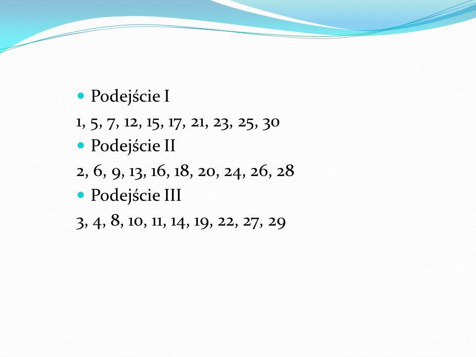 Podejście I 1, 5, 7, 12, 15, 17, 21, 23, 25, 30. Podejście II. 2, 6, 9, 13, 16, 18, 20, 24, 26, 28.