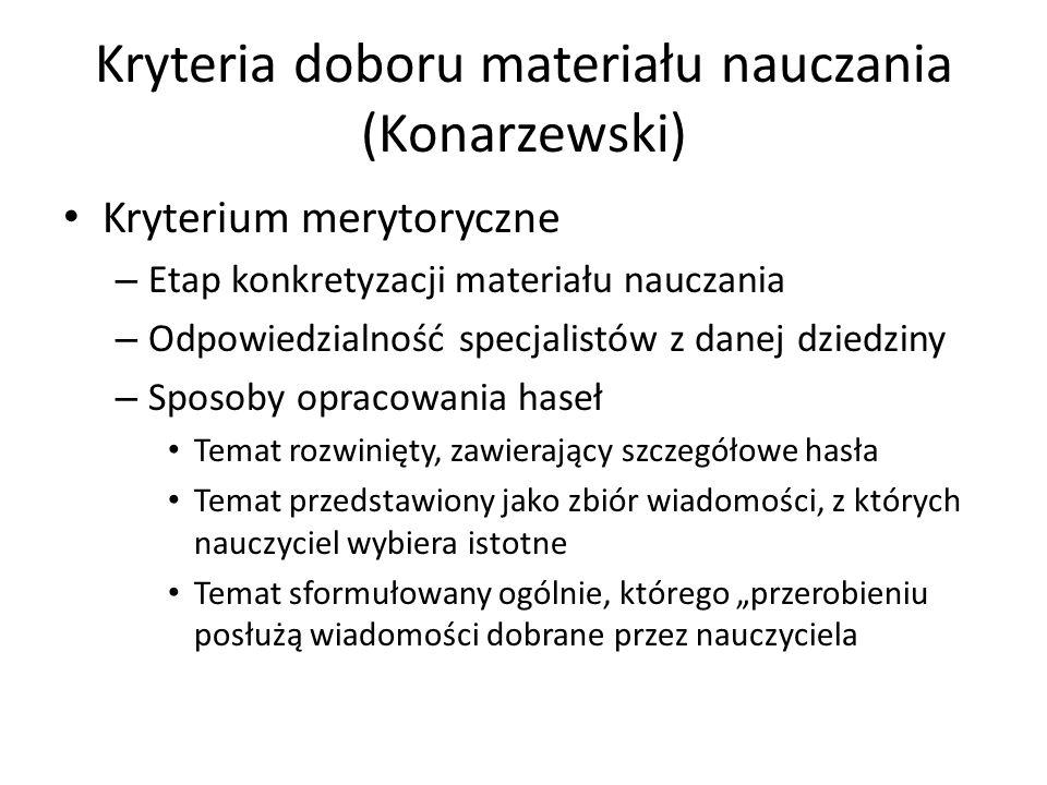 Kryteria doboru materiału nauczania (Konarzewski)