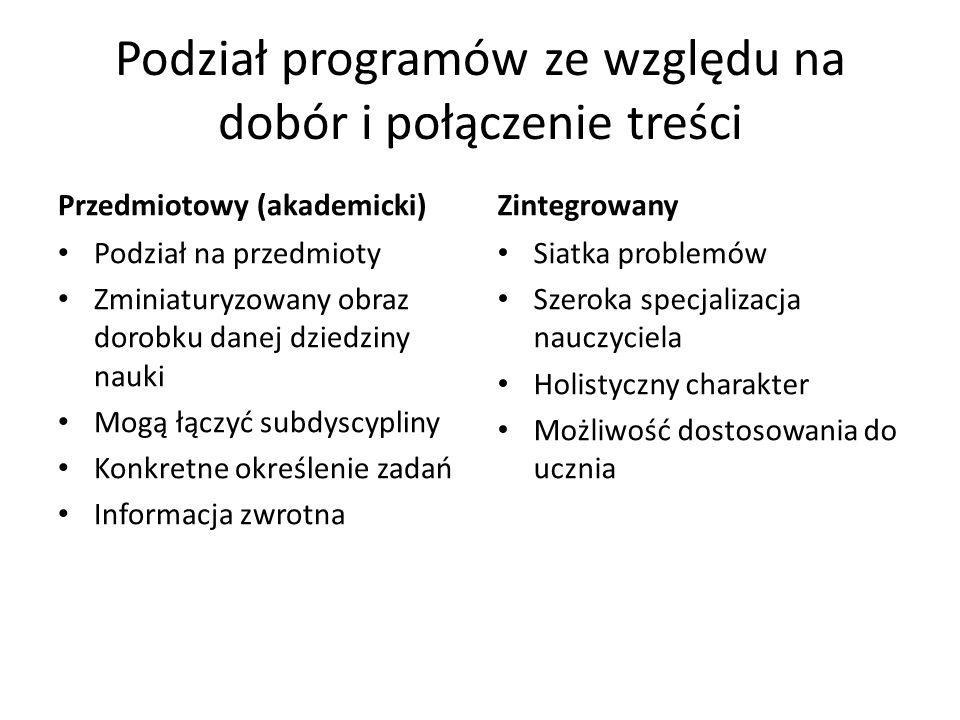 Podział programów ze względu na dobór i połączenie treści