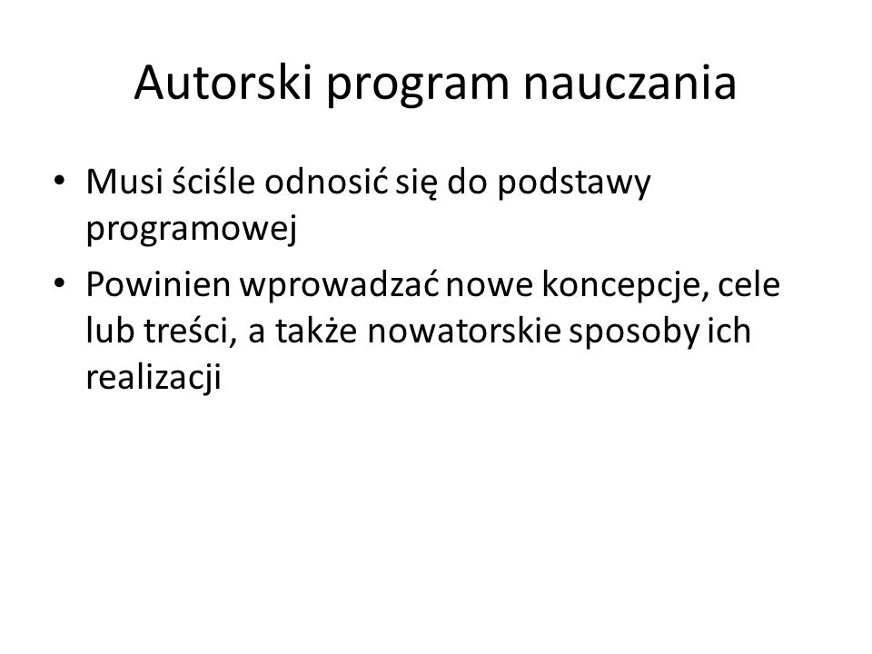 Autorski program nauczania