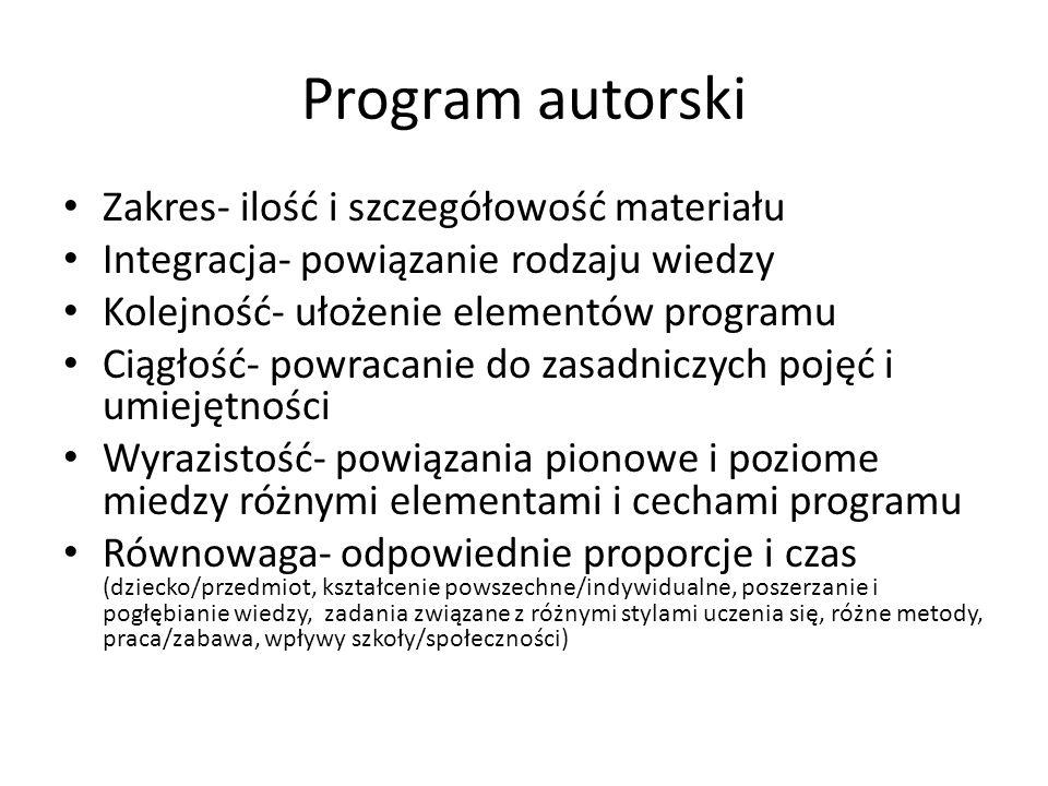 Program autorski Zakres- ilość i szczegółowość materiału