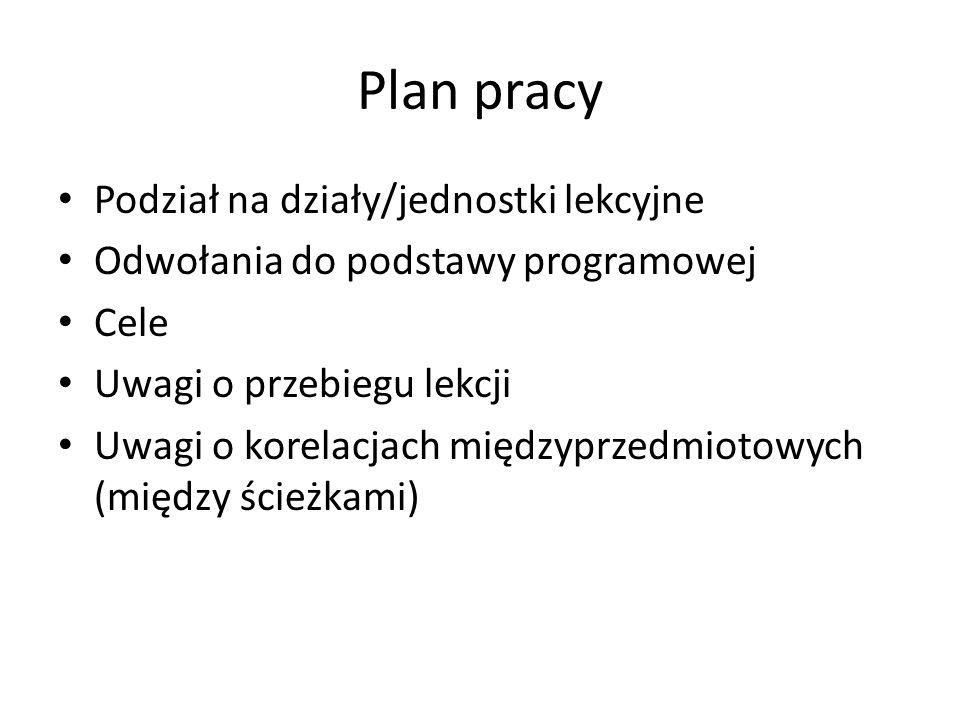 Plan pracy Podział na działy/jednostki lekcyjne
