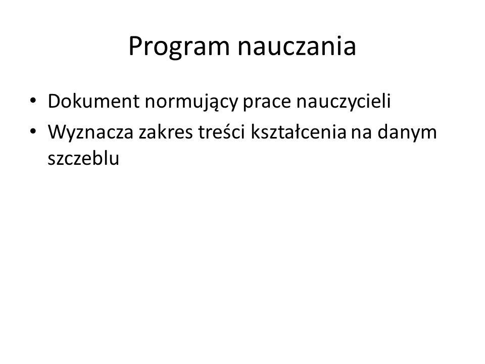 Program nauczania Dokument normujący prace nauczycieli
