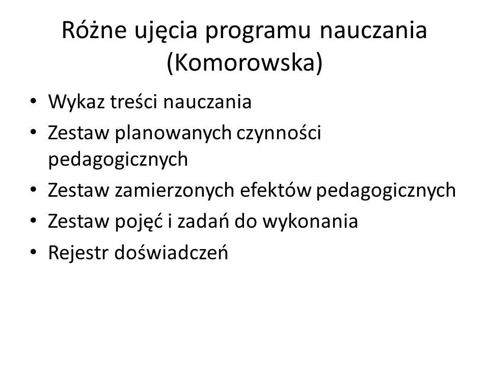 Różne ujęcia programu nauczania (Komorowska)