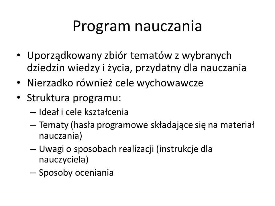 Program nauczania Uporządkowany zbiór tematów z wybranych dziedzin wiedzy i życia, przydatny dla nauczania.
