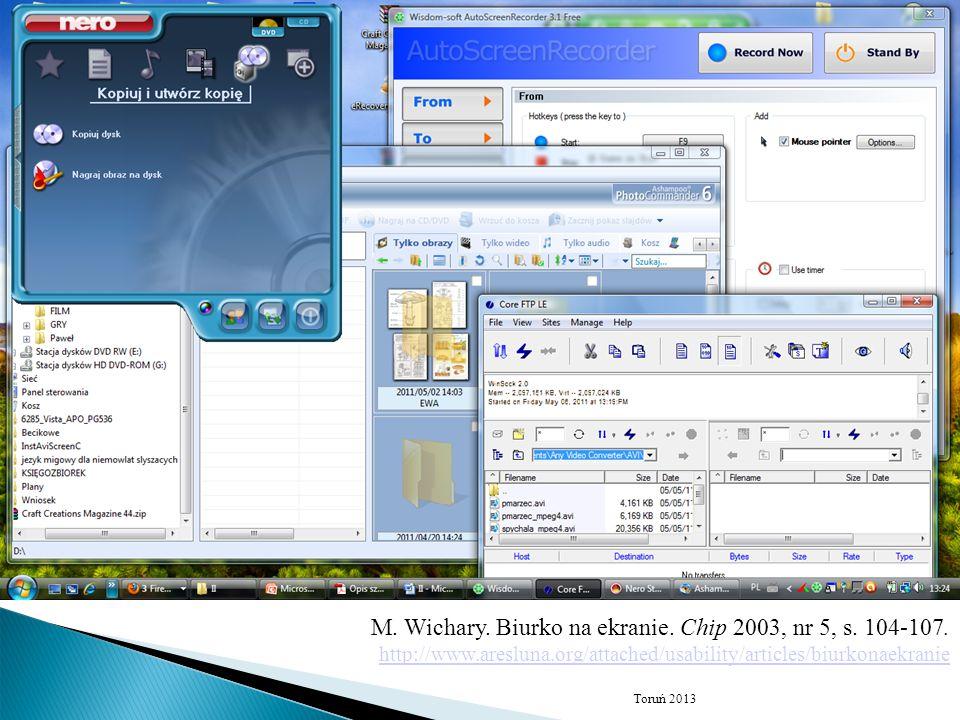 M. Wichary. Biurko na ekranie. Chip 2003, nr 5, s. 104-107.