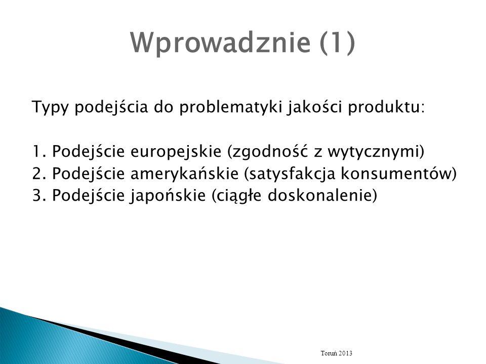 Wprowadznie (1) Typy podejścia do problematyki jakości produktu: