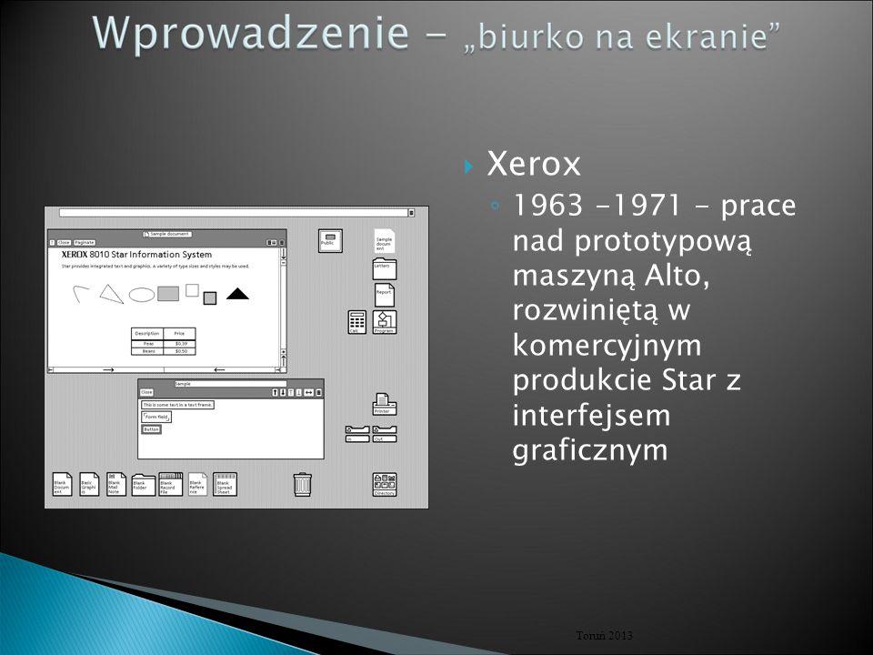 Xerox 1963 -1971 - prace nad prototypową maszyną Alto, rozwiniętą w komercyjnym produkcie Star z interfejsem graficznym.