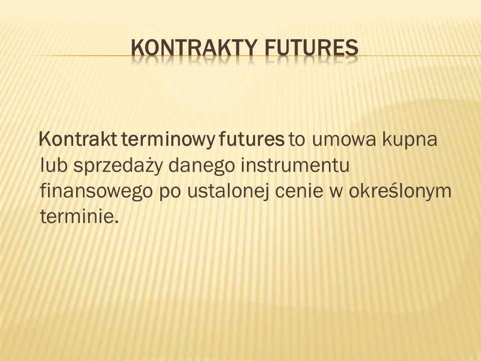 Kontrakty Futures Kontrakt terminowy futures to umowa kupna lub sprzedaży danego instrumentu finansowego po ustalonej cenie w określonym terminie.