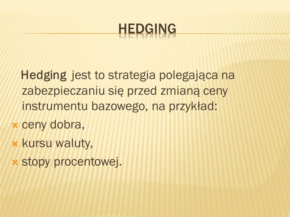 Hedging Hedging jest to strategia polegająca na zabezpieczaniu się przed zmianą ceny instrumentu bazowego, na przykład: