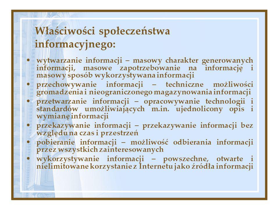 Właściwości społeczeństwa informacyjnego:
