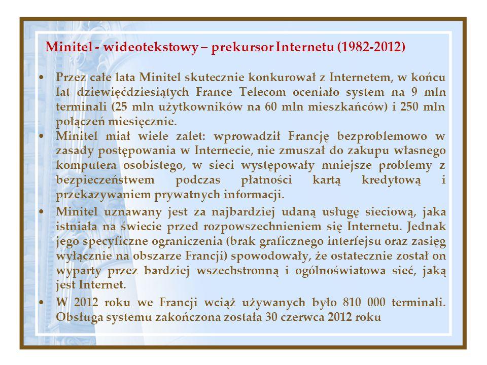 Minitel - wideotekstowy – prekursor Internetu (1982-2012)