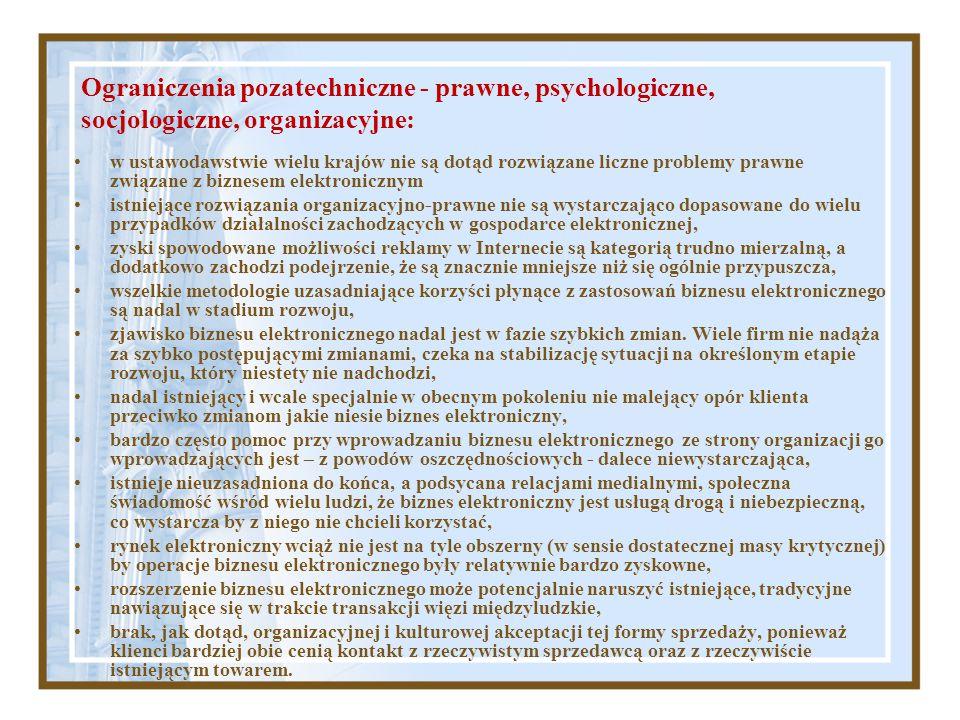 Ograniczenia pozatechniczne - prawne, psychologiczne, socjologiczne, organizacyjne: