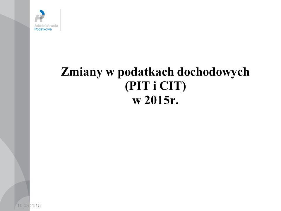 Zmiany w podatkach dochodowych (PIT i CIT) w 2015r.
