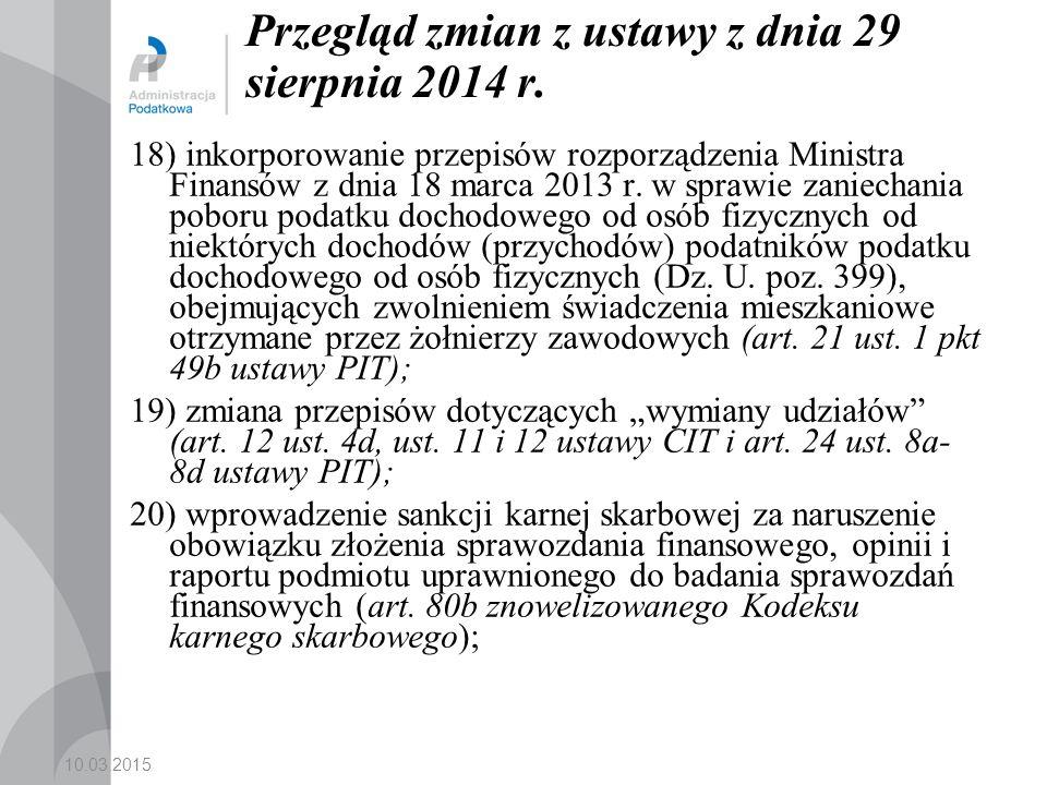 Przegląd zmian z ustawy z dnia 29 sierpnia 2014 r.