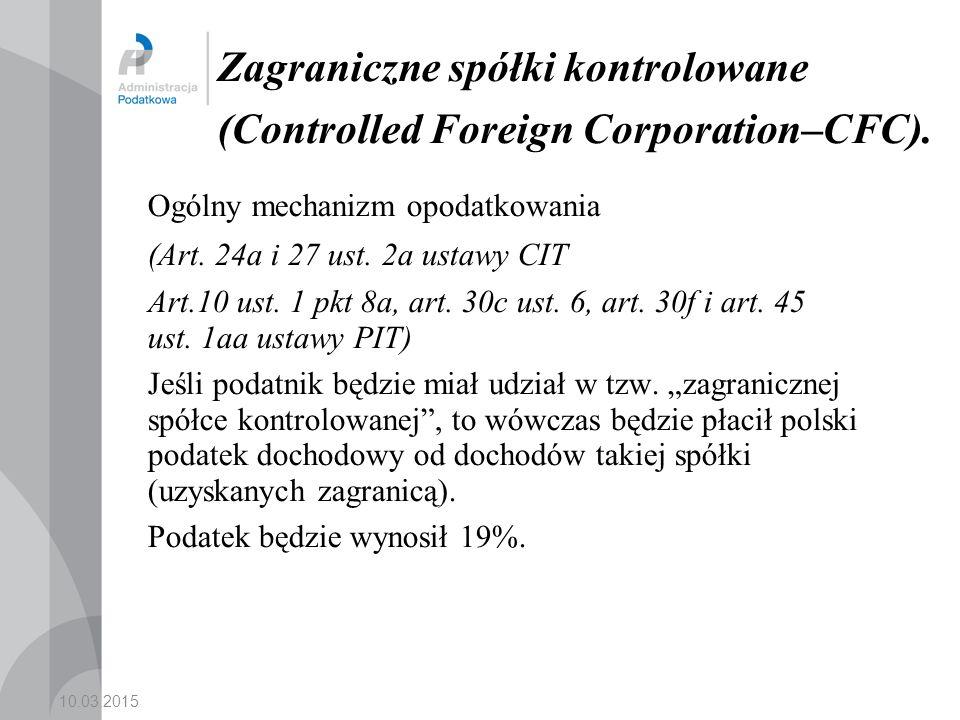 Zagraniczne spółki kontrolowane (Controlled Foreign Corporation–CFC).