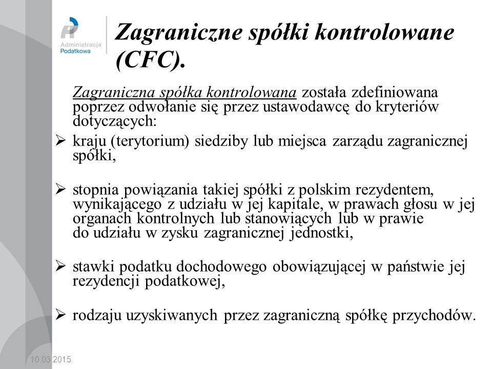Zagraniczne spółki kontrolowane (CFC).