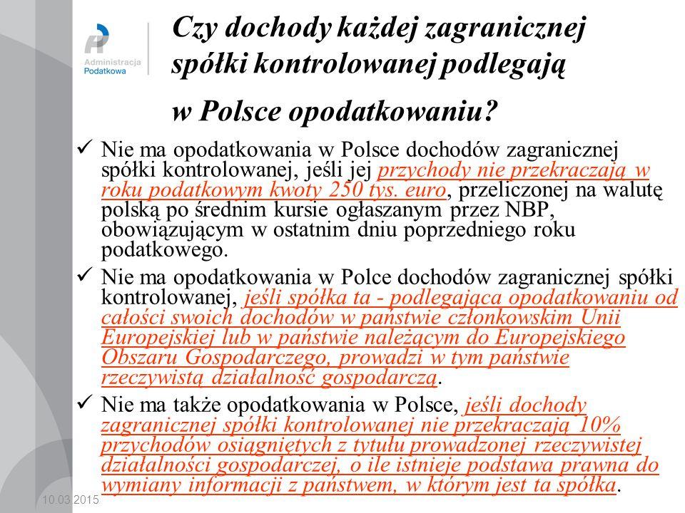 Czy dochody każdej zagranicznej spółki kontrolowanej podlegają w Polsce opodatkowaniu