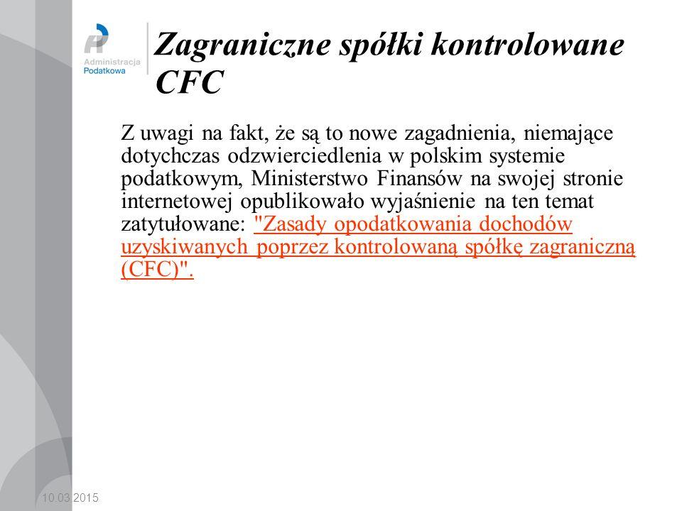 Zagraniczne spółki kontrolowane CFC