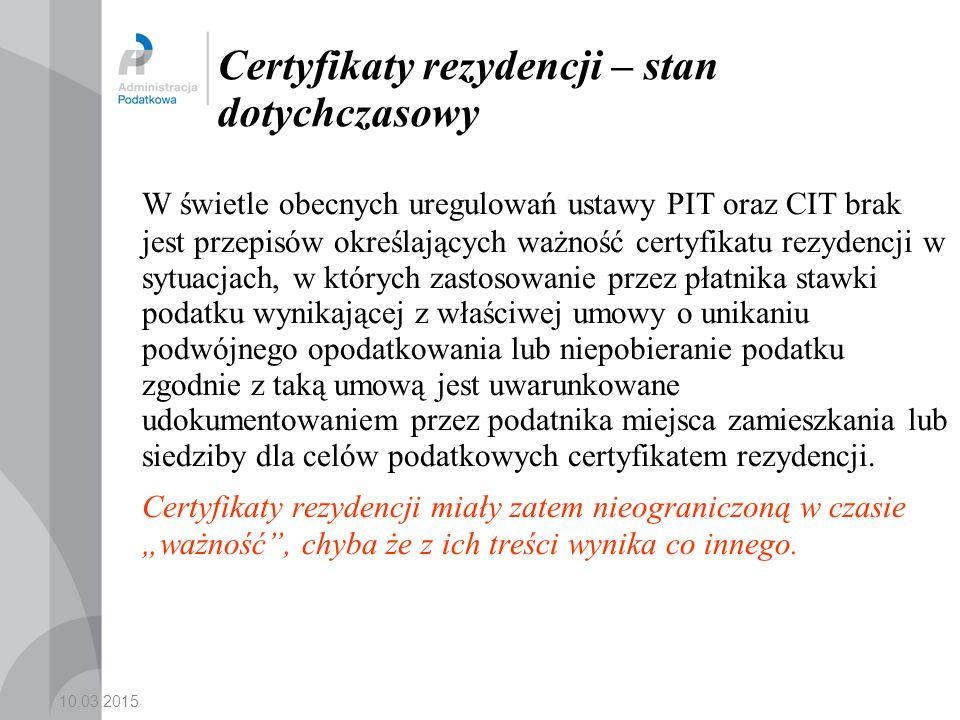 Certyfikaty rezydencji – stan dotychczasowy
